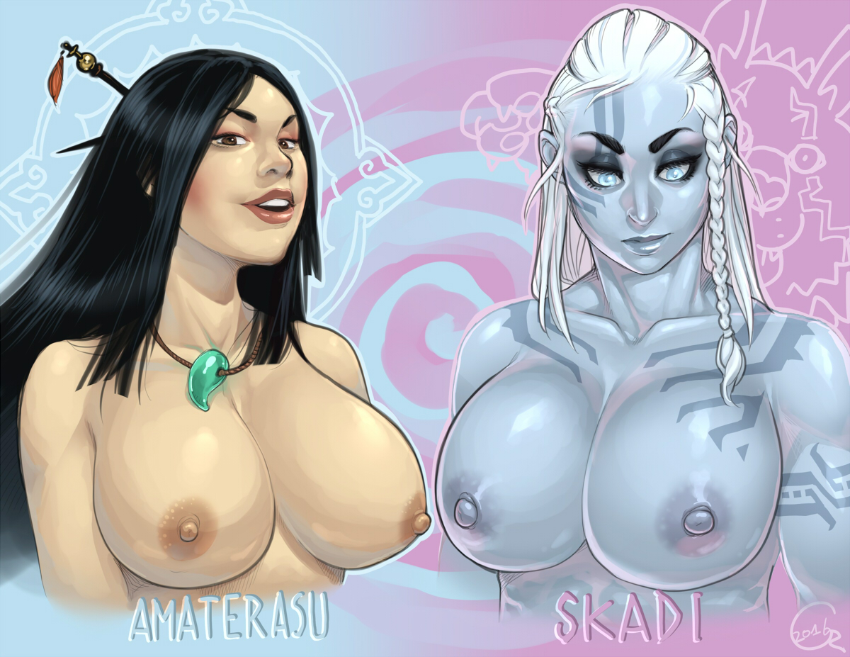 Amaterasu and Skadi hentai